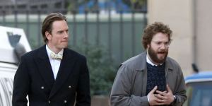 EXCLUSIVE: **PREMIUM EXCLUSIVE** Michael Fassbender and Seth Rogen film scenes for 'Steve Jobs' in Cupertino, California. Fassbender portrays the late Apple cofounder Jobs while Rogen plays his collaborator Steve Wozniak. Directed by Danny Boyle - who was seen chatting to the actors - the film is set in 1984 and focuses on the launch of three key Apple products. The production had a shaky start, originally associated with Sony Studios and with Leonardo DiCaprio just one of the actors suggested for the lead role. The drama of the events was revealed in the leaked emails from the Sony hack. Eventually the project found stability at Universal with Kate Winslet also confirmed to star. Pictured: Michael Fassbender, Seth Rogen Ref: SPL939044 300115 EXCLUSIVE Picture by: Splash News Splash News and Pictures Los Angeles: 310-821-2666 New York: 212-619-2666 London: 870-934-2666 photodesk@splashnews.com